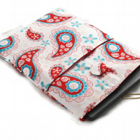 SALE Kindle Case - Aqua and Red Paisley
