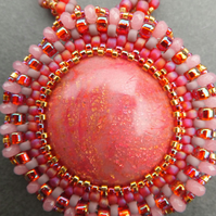 Rose Glow Beadwork Necklace