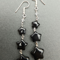 Black Agate Star Earrings