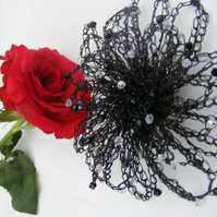Large Crochet Wire Flower Brooch Fascinator