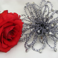 Large Grey Crochet Wire Flower Brooch Fascinator