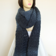Hand Crocheted Long scarf in Blue