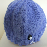 Knitted baby hat in blue
