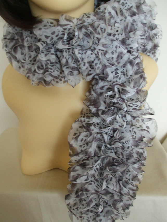 Knitted Frilly Ribbon Scarf in Brown & White Ocelot Print