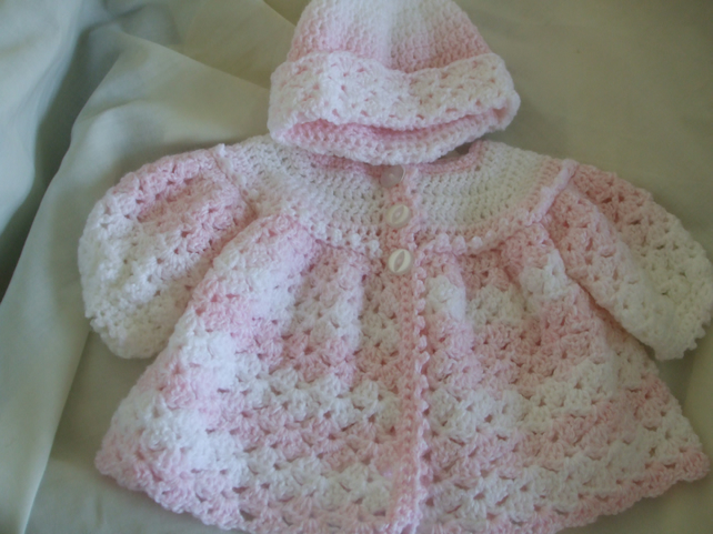 Hand Crocheted Baby Matinee Coat and Hat in Pin... - Folksy