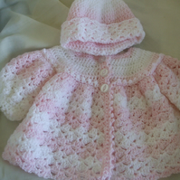 Hand Crocheted Baby Matinee Coat and Hat in Pink and White