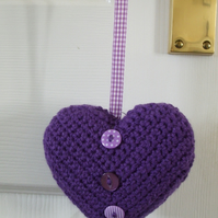 SALE ITEM Crocheted hanging heart in purple