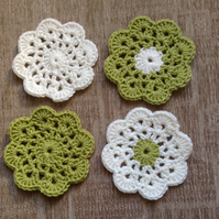 Crocheted Flower Coasters in Green and Cream