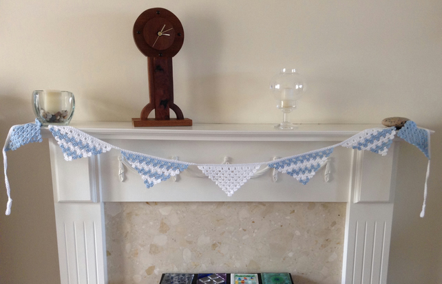 Crochet Blue and White Triangular Bunting