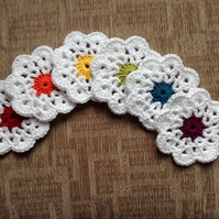 Crochet Rainbow  Daisy Flower Coasters
