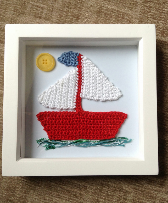 Crochet Sailing Boat in a Box Frame