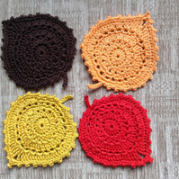 Crochet coasters set of 4 Autumn Leaves
