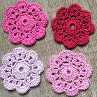 Crochet Flower Coasters a Set of 4 in Shades of Pink