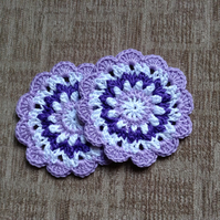 Crochet Mandala Doily Table Mat Coaster Set of 2 in Purple, Lilac and White