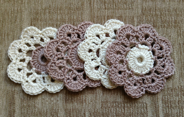 Crochet Flower Coasters a Set of 4 in Coffee and Cream