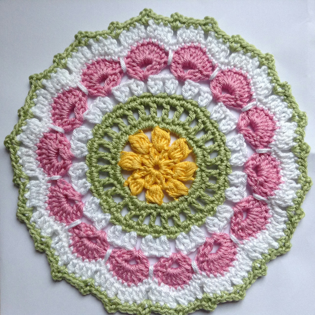 Crochet Mandala Doily Table Mat  in Pink,White,Yellow and Green