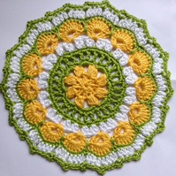 Crochet Mandala Doily Table Mat  in White,Yellow and Green