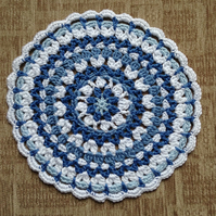Crochet Table mat, Mandala, Doily in Blue and White
