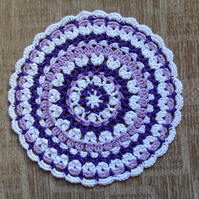 Crochet Mandala Doily Table Mat  in Purple,Lilac and White