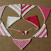 Crochet Bunting in Pink and White