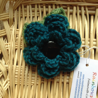 Hand Crochet Flower Brooch in Turquoise