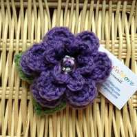 Hand Crochet Flower Brooch in Purple