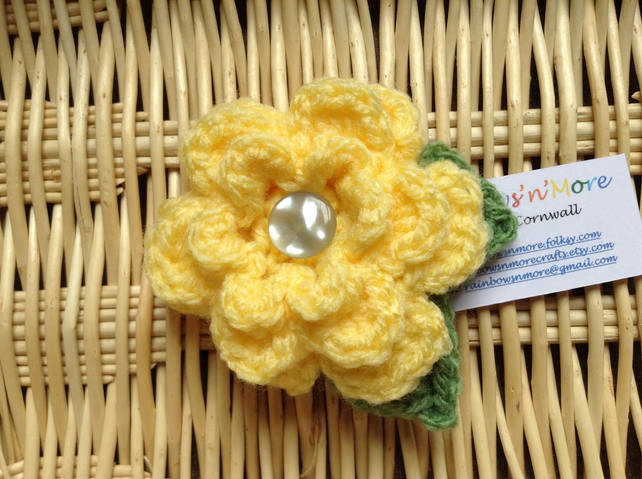 Hand Crochet Flower Brooch in Yellow