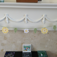 Crochet Flower Garland in Yellow,White and Green