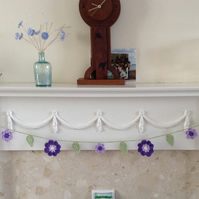 Crochet Flower Garland in Purple, Lilac, White and Green