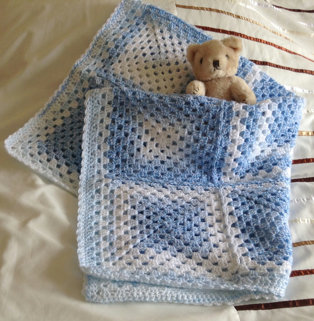 Crochet Baby Blanket Afghan in Blue and White