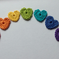 Crochet Heart Appliques in Rainbow Colours