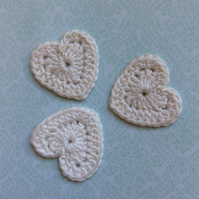 Crochet Heart Appliques Embellishments in Cream