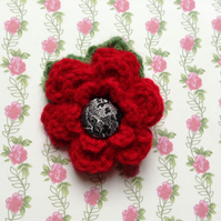 Crochet Flower Brooch Corsage in Red