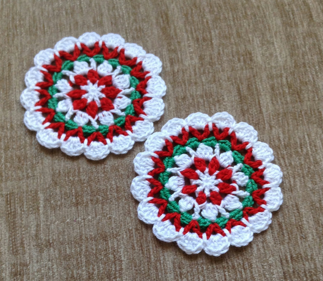 Crochet Set Of 2 Christmas Mandala Style Table Folksy