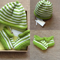 Hand Knitted Baby Hat & Booties Gift Set in Green and White Cashmerino