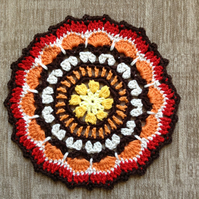 Crochet Mandala Doily Table Mat  in the Colours of Autumn