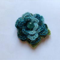 Crochet Flower Brooch Corsage in Shades of Turquoise
