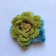 Crochet Flower Corsage Brooch in Green and Turquoise