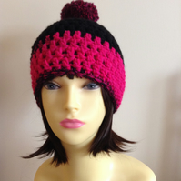 Crochet Pompom Hat in Pink and Black