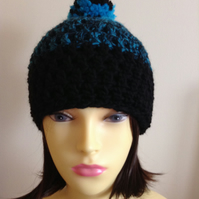 Crochet Pompom Hat in Black and Turquoise