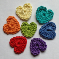 Crochet Heart Appliqués Embellishments in the Colours of the Rainbow