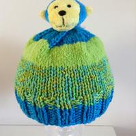 Hand Knit Bobble Hat with Cheeky Monkey Character