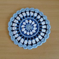 Crochet Mandala Table Mat Coaster in Blue and White