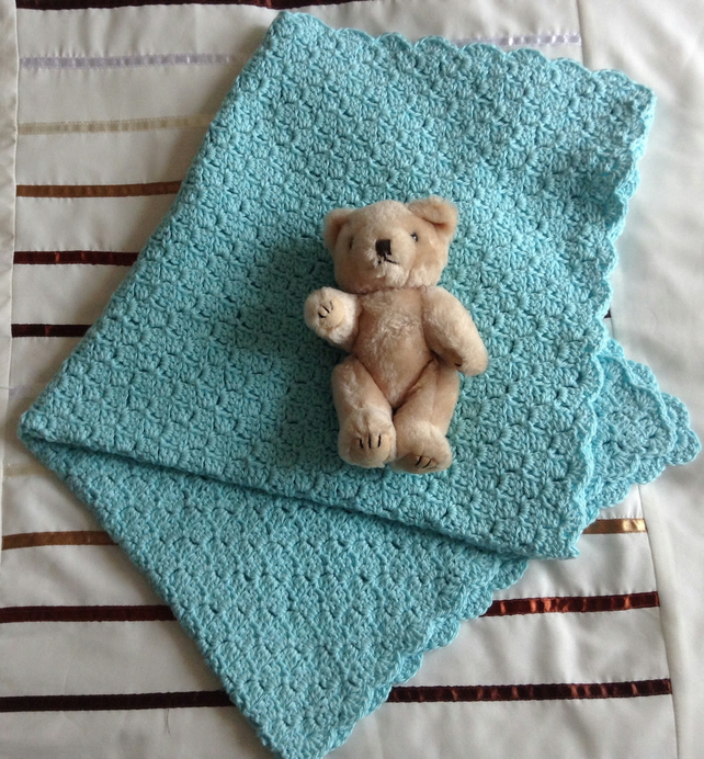 Crochet Baby Blanket in Mint Soft Cotton