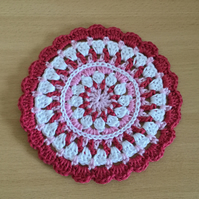 Crochet Mandala Table Mat in Pink and White