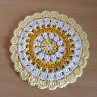 Crochet Mandala Table Mat in Yellow and White