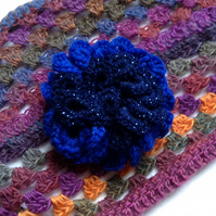 Crochet Flower Corsage Brooch in Royal Blue & Navy