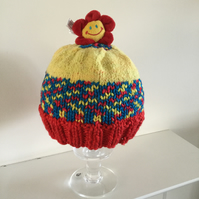 Hand Knit Child's Hat in Red,Yellow and Blue