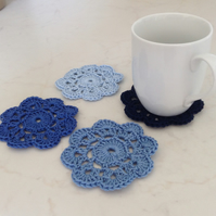 Crochet Coasters Set of Four in Blue