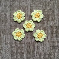 Crochet Flower Appliqués in Yellow